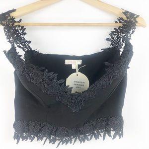 NWT Luxxel Off Shoulder Lace Crop Top size L